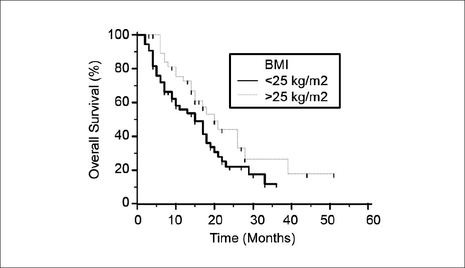 Figure 1: Overall survival rates of Body mass index (BMI) ≥25 kg/m<sup>2</sup> (n=40) and BMI <25 kg/m2 (n=53) patients with locally advanced NSCLC. Overall survival was significantly better in the BMI ≥25 kg/m2 group than in the BMI <25 kg/m<sup>2</sup> group (<i>P</i>=0,049).